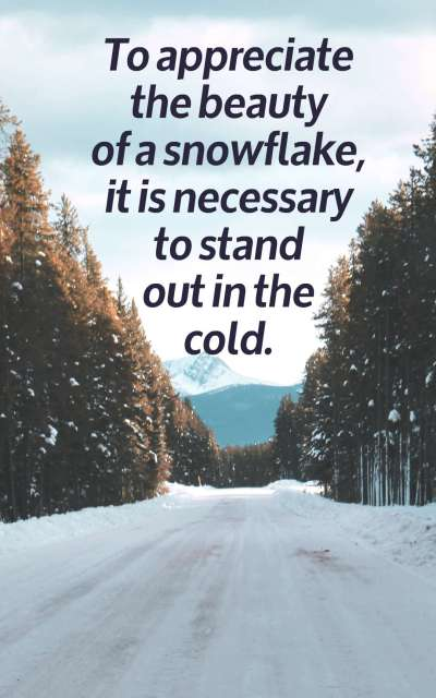 To appreciate the beauty of a snowflake, it is necessary to stand out in the cold.