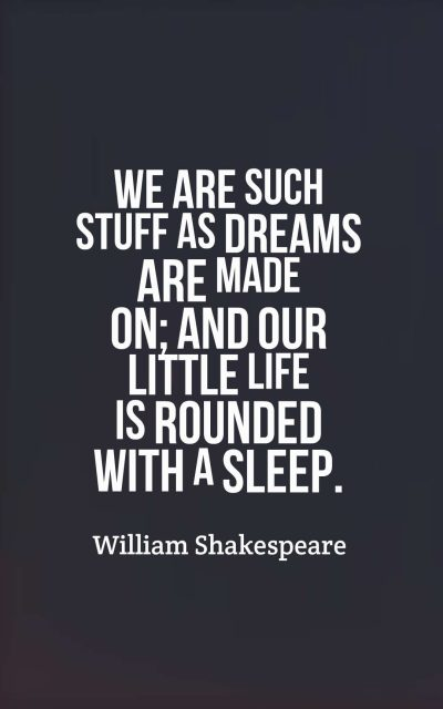 We are such stuff as dreams are made on; and our little life is rounded with a sleep.