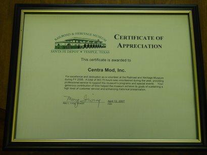 Railroad Heritage Museum Certificate of Appreciation