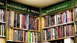 image of Witchcraft, Wicca, Magick, Occult bookshelves in occult bookshop