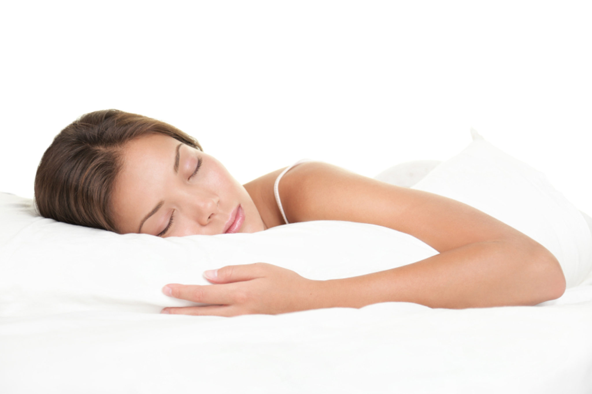 Woman sleeping in bed. Woman sleeping isolated on white background.