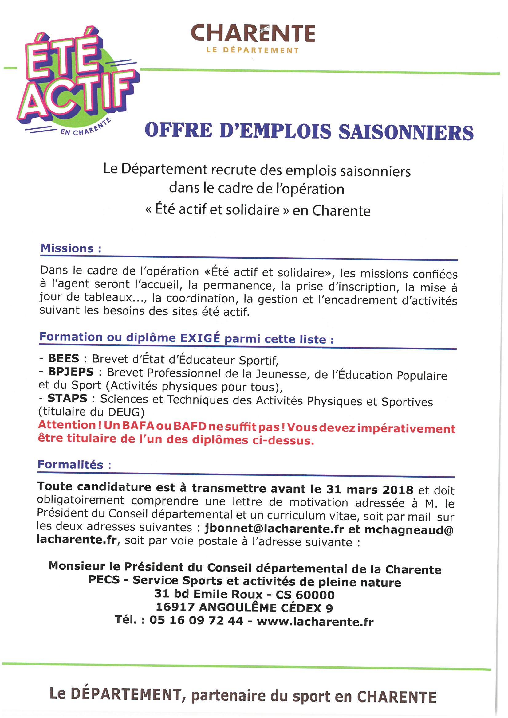 Campus Des Valois Charente Offres D Emploi