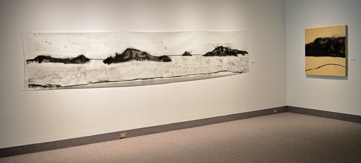 """Gerald Pedros: Beach Drawing #18, mixed media, 36""""x188""""  and Beach Drawing #10, mixed media, 40""""x40"""", 2015"""