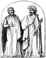 Deux druides sur le bas relief d'Autun – Wikimedia
