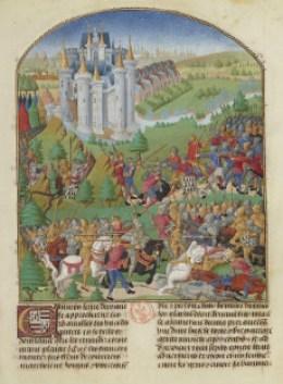 La bataille d'Auray Pierre Le Baud, Compilation des chroniques et histoires de Bretagne, entre 1480 et 1482, Bibliothèque nationale de France, ms fr. 8266, f° 262