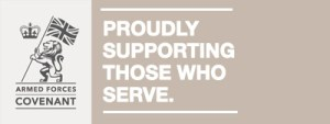 Armed Forces Covenant Banner - Proudly Supporting Those Who Serve