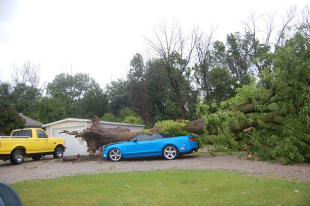 Trees and power lines came down near Grand Bend as a severe storm moved through Lambton Shores on July 27, 2014. Damage to one property is shown in this file photo taken right after the storm. While much of the cleanup has been carried out, some signs of the storm still remain in the community. (File photo/Postmedia Network)