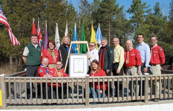 Dignitaries such as Mayors Mike Bradley and Bill Weber, MPP Monte McNaughton and MPs Marilyn Gladu and Bev Shipley joined Scouting leaders to celebrate Camp Attawandaron's designation as a Scout Centre of Excellence for Nature and Environment on Saturday, Apr. 30. CARL HNATYSHYN/SARNIA THIS WEEK