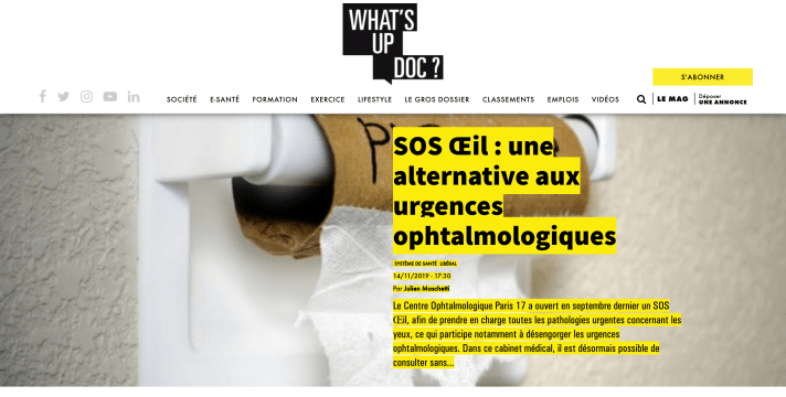 Centre ophtalmologique Paris 17 - Sos Oeil - On parle de nous - Presse - What's Up Doc