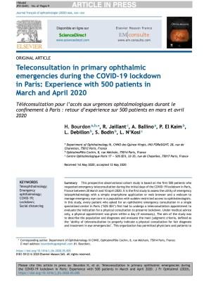 Dr Ludovic N'Kosi - publication Juin 2020 - Journal Français d'ophtalmologie
