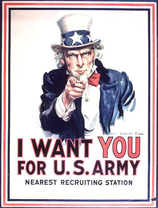 Affiche pour recrutement armée, Première Guerre mondiale, Etats-Unis