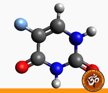 Estructura en 3D de la molécula del 5-Fluorouracilo