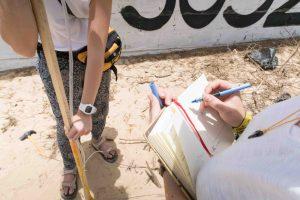 pruebas de medición del terreno