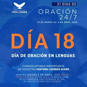 DÍA 18. DÍA DE ORACIÓN EN LENGUAS.