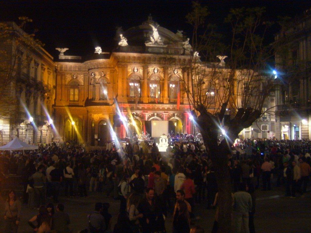 Bellini Theatre at night