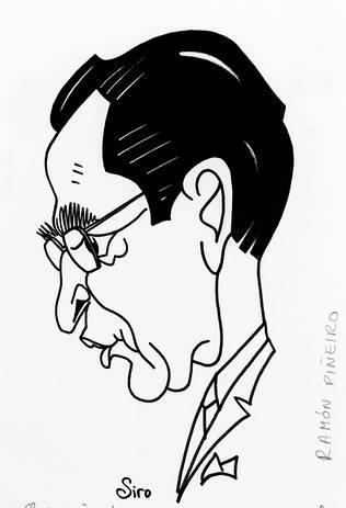 Caricaturización de Ramón Piñeiro.