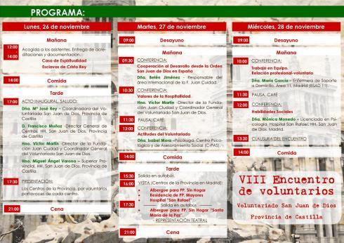 Programa VIII Encuentro de Voluntarios San Juan de Dios, Provincia de Castilla