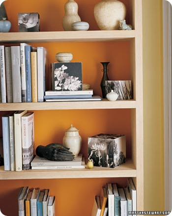 orange painted bookcase martha stewart