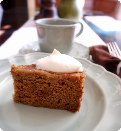spice cake on plate with tea