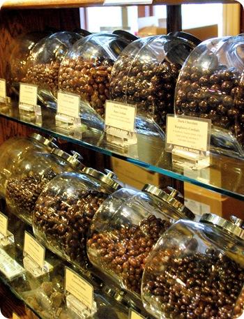 chocolate candies in jars