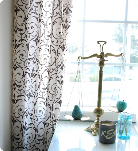 antique scales and curtains