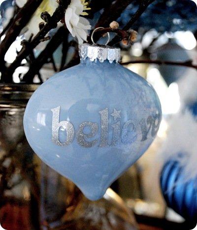 blue believe ornament