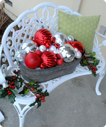 front bench with ornaments