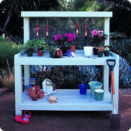 potting bench sunset