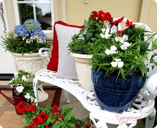 cg blue pot on bench