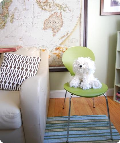 pup in green target chair