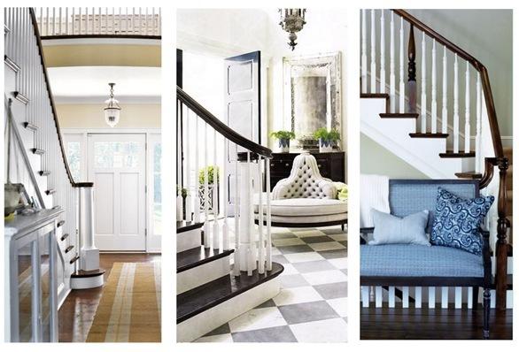 dark treads and handrail white risers