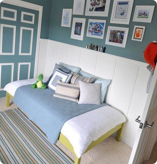 boys room bed on wall