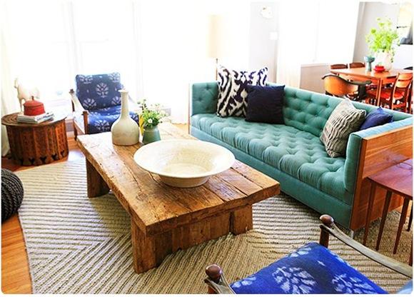 emily henderson teal sofa