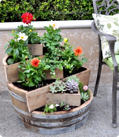 Recycled Wine Barrel Planter | Centsational Style