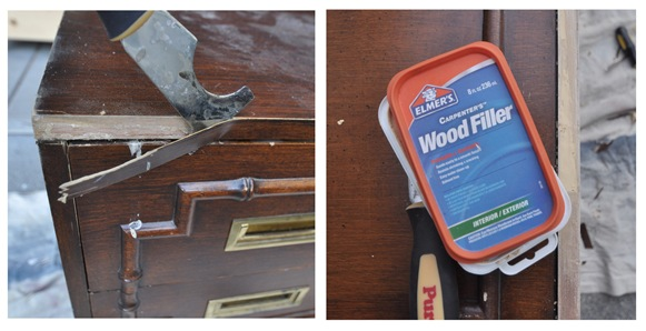 peel veneer wood filler