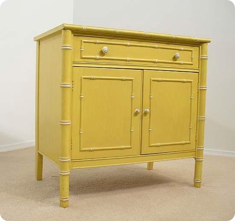 yellow faux bamboo chest