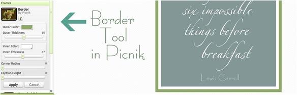 border tool in picnik