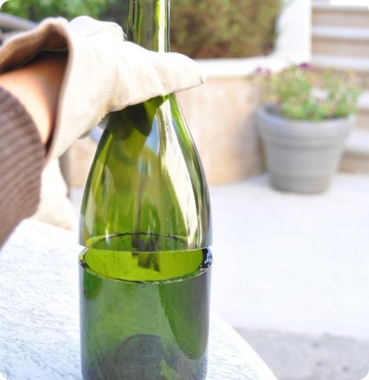clean cut on champagne bottle