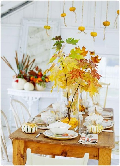 fall leaves on table bhg