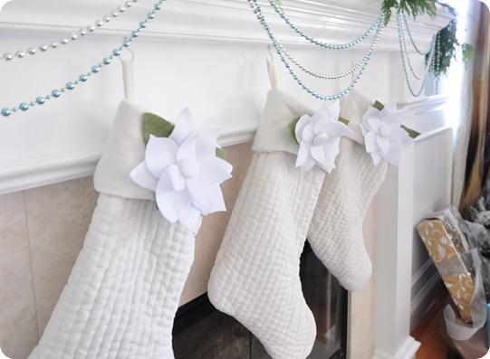 poinsettias on stockings