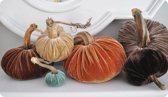 set of six plush pumpkins