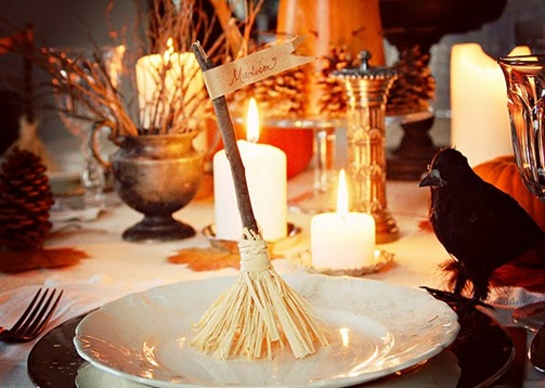 witches broom place card holder miss mustard seed