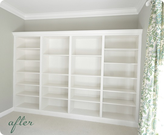 billy built in bookcase wall after