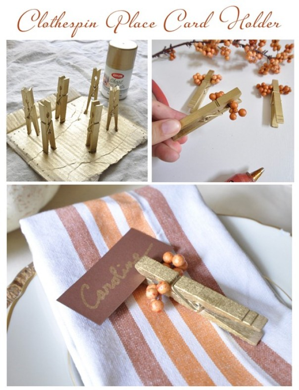 clothespin place card holder