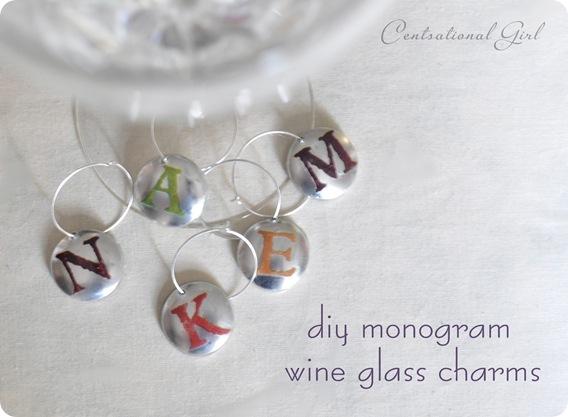diy monogram wine glass charms