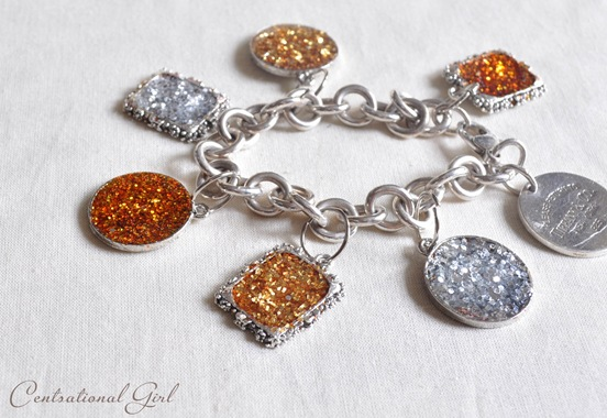 glitter charms on bracelet