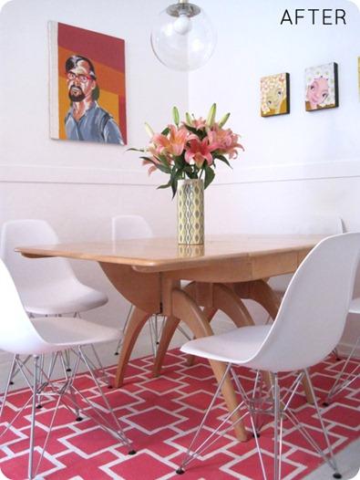painted geometric rug design sponge