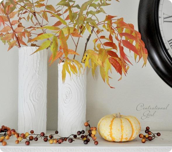 white faux bois vases fall
