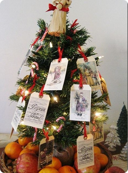 vintage santa card tree