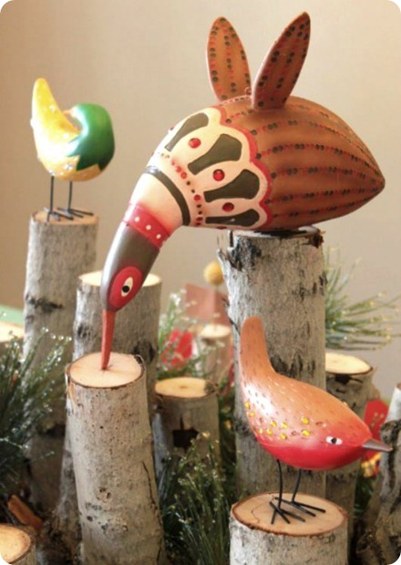 whimsical birds tablescape